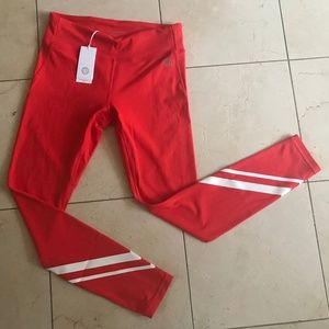 NEW $125 Tory Burch Red Leggings MEDIUM M